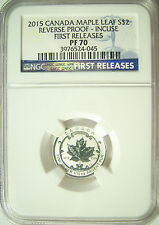 2015 Canada S$2 Maple Leaf Rev Proof - Incuse 1/10th Oz. Silver  NGC PF70 FR