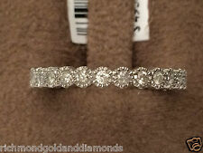 Vintage Ladies  13 Diamonds Anniversary Wedding Ring Band White Gold Milgrain
