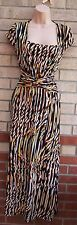 SAVOIR ABSTRACT BEIGE BROWN BLACK KNOT VINTAGE PARTY CASUAL LONG MAXI DRESS M 12