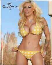 Candy Manson Looking Sexy In A Yellow Bikini Adult Model Signed 8x10 Photo COA