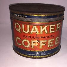 1# QUAKER COFFEE TIN CAN With Lid Antique Vintage