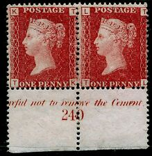 Sg43, 1d rose-red plate 203, UNMOUNTED MINT. INSCRIPTIONAL PAIR.