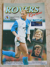 The Official Match Day Publication Of  Blackburn Rovers & Oxford United 1992