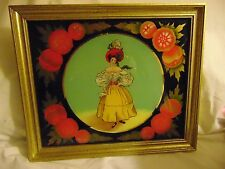 Framed Reverse Painted Glass Tablet Beautiful Woman French For Mirror or Clock