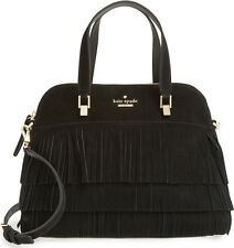 NWT $468 Kate Spade SUEDE MAISE Fringe LEATHER Sycamore St dome black purse bag