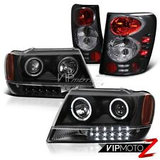 99-04 JEEP GRAND CHEROKEE WG WJ L+R BLACK LED HALO PROJECTOR HEADLIGHT+TAILLIGHT