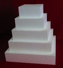 "New Foam Cake Dummy set 5 pc Square 6"" to 14"" at 3"" Thick EPS Foam"