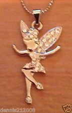 Stunning crystal Tinkerbell fairy charm pendant necklace silver tone A101BARGAIN