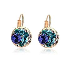 18CT Rose Gold Plated Genuine Swarovski Crystals Round Amethyst Hoop Earrings