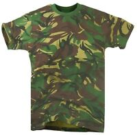 ARMY WOODLAND DPM CAMO T-SHIRT Mens Large Military khaki camouflage cotton tee