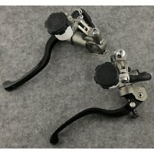 Universal Brake & Clutch Master Cylinder Levers Dual Fluid Reservoir Black