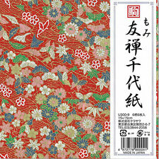 """Japanese 6"""" Origami Momi Yuzen Chiyogami Paper 6 Sheets 6 Designs, Made in Japan"""
