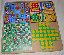 Wooden Multi-Game Board Snakes Ladders Junior Bingo Sorry Tic Tac Toe Backgammon