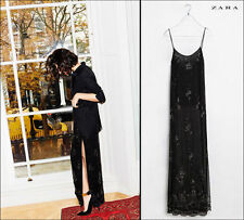 ZARA Black Long Beaded Chiffon Slip Maxi Dress with Side Slits M BNWT