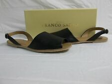 Franco Sarto Size 8 M Velvet Black Leather Ankle Strap Sandals New Womens Shoes