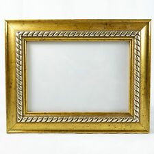 "Antique Gold w/ Silver Rope Picture Frame Interiors by Design 5x7"" Photo"