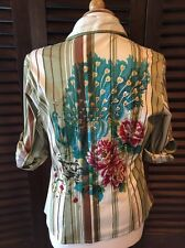 Rene Derhy Peacock & Floral Gold Glitter Striped Button Front Shirt Blouse Small