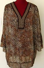 Leopard Animal Print Tunic Blouse Sz 3X Evolution JMS Smocked Chain Top 22W 24W