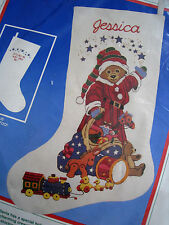 "Dimensions Crewel Stitchery Christmas Stocking KIT,SANTA BEAR,Hague,8058,16"",NIP"