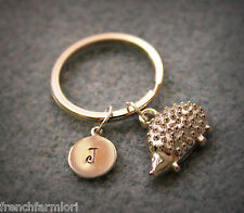 Monogram Hand Stamped Letter Personalized Hedgehog Key Chain fall thanksgiving