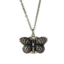 Classic Bronze Butterfly Engraved Pendant Necklace Quartz Watch Lady Girl Unisex