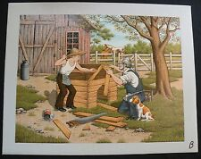 C. CARSON Serigraph Oil Painting Canvas BUILDING DOGHOUSE Barn Grandfather Boy