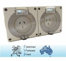 2 x 10 Amp 3 pin single phase Outlet Socket IP66 Weatherproof Industrial