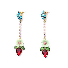 ELEGANT ANTHROPOLOGIE FLOWER DROP DANGLE 3'' EARRINGS - NEW
