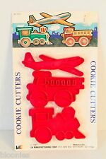 LK Manufacturing Corp Vintage Cookie Cutters (Airplane, Train, Firetruck) NEW