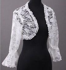 New White Bridal Lace Bolero Jacket Shawl Wraps Cape Pashmina Wedding Dress