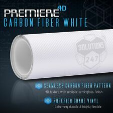 "4D White Carbon Fiber Gloss Vinyl Wrap Bubble Free Air Release 12"" x 60"" In Roll"