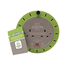 5M - 2 Way Heavy Duty Cable 5 Meter Extension Reel Lead Mains Socket 13 Amp
