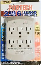 6 Outlet AC Wall Plug Surge Protector Power Suppressor with 2 USB Charging Ports