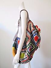 Multicolor Crochet Knit Leather Strap Hippie Hobo Sling Back Shoulder Backpack L