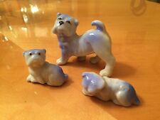 Vintage Lot Of 3 Porcelain French English Bulldog Mops  Dog Figurine  Japan