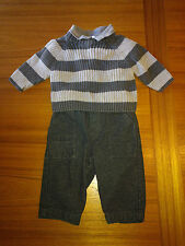 Gymboree 5 Pc Striped Sweater & Polo Bodysuit, Wool Pants, Hat & Socks - 3-6 Mos