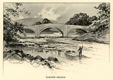 Yorkshire, Barden Bridge, A Garraud antique print