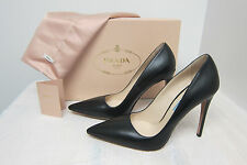 Prada Leather Point-Toe Pumps Size: 38.5/8.5 Color: BLACK Original:$650.00