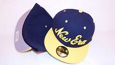 (HB4) NEW ERA HAT CAP FITTED 59FIFTY NEW ERA SCRIPT SIZE 7 1/2 NAVY YELLOW