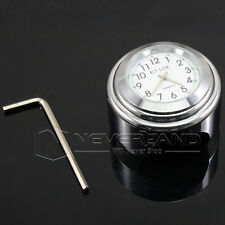 "7/8"" 1"" Motorcycle Watch Handlebar Mount Dial Clock Temp Glow For Harley White ☆"