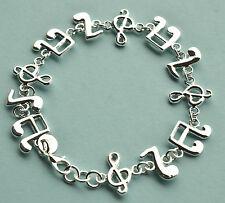 Armband 925 Sterling Silber plattiert Armreif Schmuck Damen Noten Musik Neu