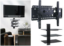 "New TV Wall Mount with Triple Glass Shelf Unit Supports Screen Sizes 30"" to 85"""