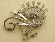 VINTAGE PENNINO DESIGNER STERLING SILVER RHINESTONE SPRAY BOUQUET BROOCH PIN