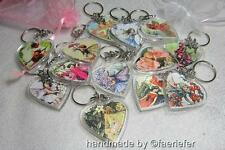 Vintage flower fairies heart shaped key ring gift Poppy Rose choose any fairy
