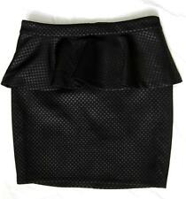 BEBE BLACK LATTICE PATTERN STRETCH PEPLUM SKIRT NEW NWT SMALL S