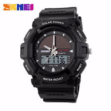 SKMEI 1050 Solar Power Digital Multi-function Two Time Zone Sport Men Watch