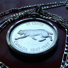"1967 SILVER CANADA LYNX COIN Pendant on 30"" 925 Sterling Silver Chain,  26mm"