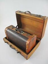 2er Set Koffer Dekokoffer Truhe Antikoptik Leder Vintage Oldtimer 325.005