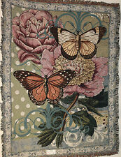 Brand New BOTANICAL COQUETTE` flowers butterfly Tapestry Throw Blanket - Fringed