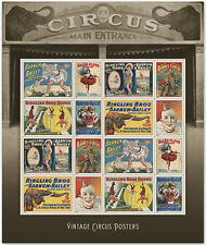 USPS New Vintage Circus Posters Forever Stamp Sheet of 16
